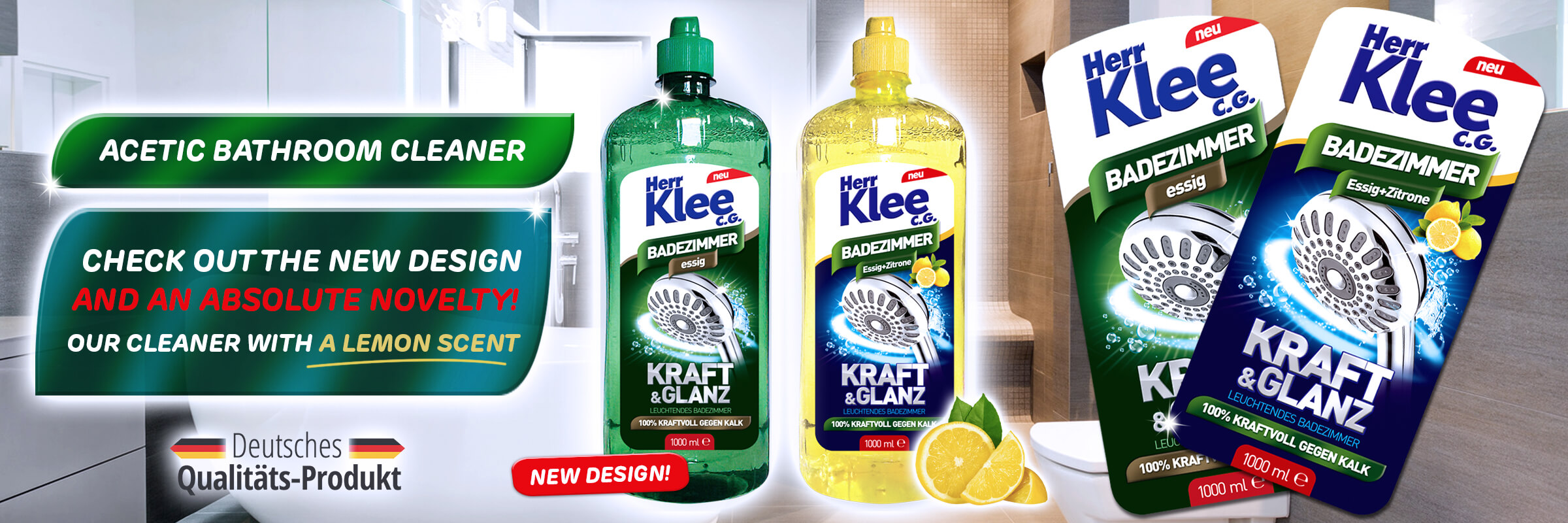 New! Herr Klee C.G. acetic liquid bathroom cleaner with a lemon scent!