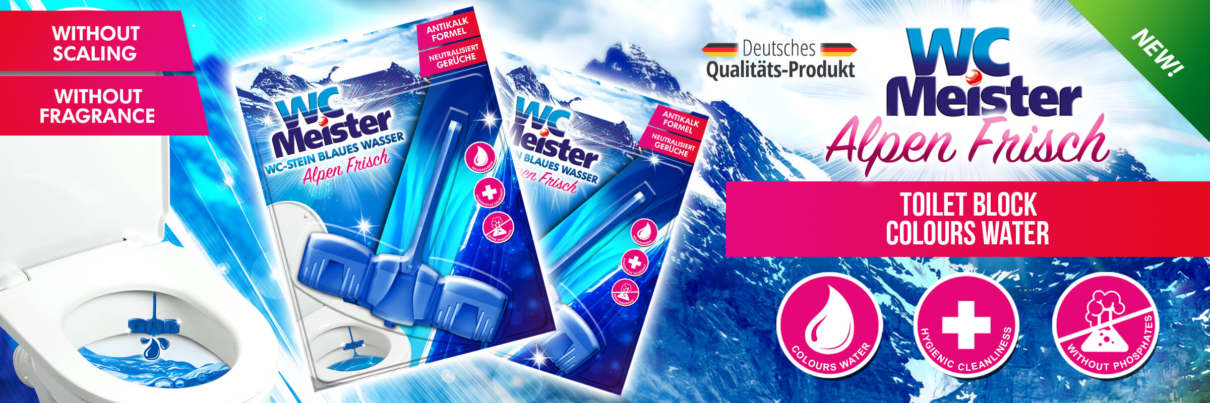 WC Meister Alpen Frisch toilet block colouring water blue